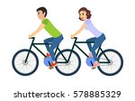 couple of man and woman riding... | Shutterstock .eps vector #578885329