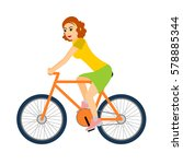woman cyclist rides a bicycle.... | Shutterstock .eps vector #578885344