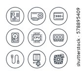 computer components line icons... | Shutterstock .eps vector #578895409