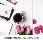 woman's workplace top view.... | Shutterstock . vector #578897470