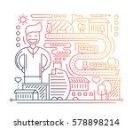 city life   vector modern plain ... | Shutterstock .eps vector #578898214