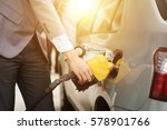 refilling gas. close up of man... | Shutterstock . vector #578901766