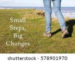 woman walking along a cliff top ... | Shutterstock . vector #578901970