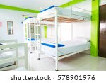 Stock photo interior of a bedroom in hostel 578901976