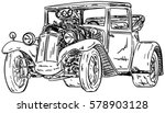 vector   retro  hot rod with... | Shutterstock .eps vector #578903128
