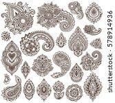big vector set of henna floral... | Shutterstock .eps vector #578914936