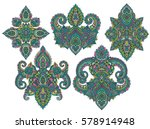 vector set of henna floral... | Shutterstock .eps vector #578914948