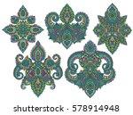 vector set of henna floral...   Shutterstock .eps vector #578914948