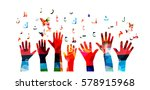 colorful human hands with... | Shutterstock .eps vector #578915968