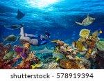 young men snorkeling exploring... | Shutterstock . vector #578919394
