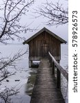 Boat House In Winter Black And...