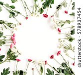 wreath frame of red and white... | Shutterstock . vector #578937454