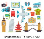 airport travel icons flat... | Shutterstock .eps vector #578937730