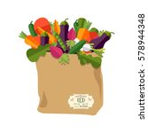 paper bag with healthy foods ... | Shutterstock .eps vector #578944348