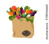 paper bag with healthy foods ... | Shutterstock .eps vector #578944660