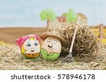 painted easter eggs on a farm   Shutterstock . vector #578946178