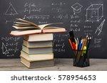education concept   books on... | Shutterstock . vector #578954653