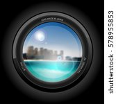 lens view  beautiful cityscape... | Shutterstock .eps vector #578955853