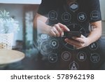 designer man using smart phone... | Shutterstock . vector #578962198