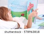 little cute girl reading book... | Shutterstock . vector #578963818