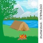 summer landscape tent and... | Shutterstock . vector #578966263