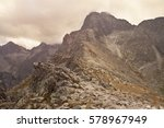 mountains range with cloudy sky