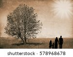 happy family silhouette in the...   Shutterstock . vector #578968678