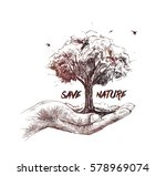 save nature human hand holding... | Shutterstock .eps vector #578969074