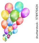 balloons flying over white... | Shutterstock .eps vector #578970424