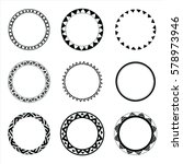 set of hand drawn ethnic circle ... | Shutterstock .eps vector #578973946