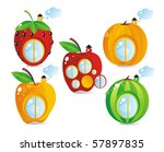 Fruit-berry small houses - stock vector