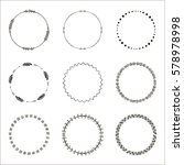 set of hand drawn ethnic circle ... | Shutterstock . vector #578978998
