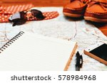 notebook and travel accessories ... | Shutterstock . vector #578984968