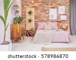 bedroom with double bed  brick... | Shutterstock . vector #578986870