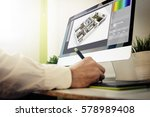interior designer working with... | Shutterstock . vector #578989408
