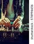 dj playing music at mixer... | Shutterstock . vector #578996656