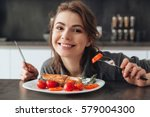 image of happy young lady... | Shutterstock . vector #579004300