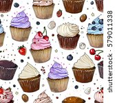 pattern cupcakes line drawn on... | Shutterstock .eps vector #579011338