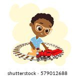 african american boy with... | Shutterstock .eps vector #579012688