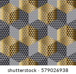 gold and black geometry hexagon ... | Shutterstock .eps vector #579026938