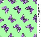 colorful seamless butterfly... | Shutterstock .eps vector #579027523