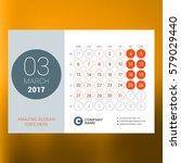 calendar template for march... | Shutterstock .eps vector #579029440