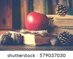 old vintage books on wooden... | Shutterstock . vector #579037030