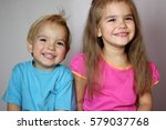 happy cute toddler boy in blue...   Shutterstock . vector #579037768