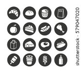 fast food icons set in circle... | Shutterstock .eps vector #579047020