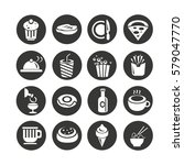 food icons set in circle... | Shutterstock .eps vector #579047770