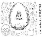 easter vector doodles set with... | Shutterstock .eps vector #579047884