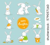 cute bunny set. easter greeting ... | Shutterstock .eps vector #579057160