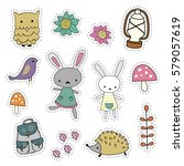 set cute forest stickers.... | Shutterstock .eps vector #579057619