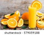 squeezed orange juice and fresh ... | Shutterstock . vector #579059188